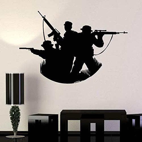 WWYJN Vinyl Wall Decal Soldiers Silhouette Wall Sticker Military Art Home Decoration Accessaries War Soldiers Vinyl Wall Mural85x57cm