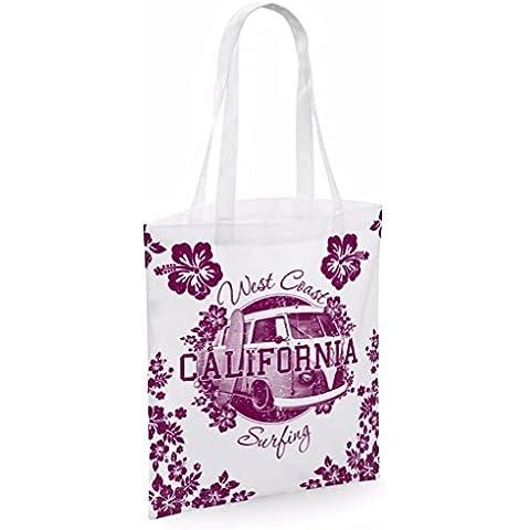 Bolso tote de algodón para mujer California. Bolsos de lona con eslogan impreso