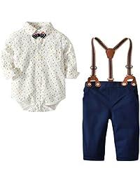 [Bekleidungsset Baby Junge] Baby Hemdbody mit Fliege + Hose mit Träger Jungen Bekleidungsset Taufe Anzug Baumwolle Set Babyanzug