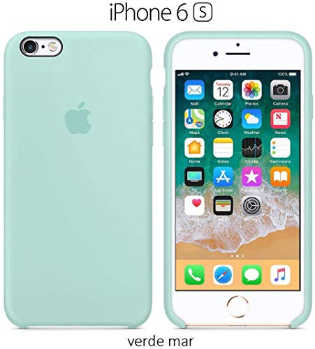 Funda Silicona para iPhone 6 y 6s Silicone Case, Logo Manzana, Textura Suave, Forro Microfibra (Verde-mar)