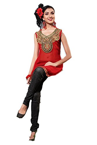 Jayayamala Frauen-Damen Tunika Shirt mit Stoff Georgette gestickte Tunika (M) (Georgette-tunika)