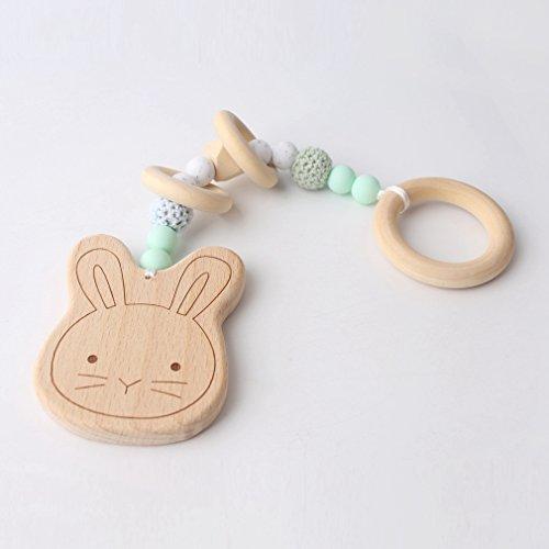 Mamimami Home 1 STÜCK Baby Holz Beißring Cute Bunny Ohr Bio Rassel Chew Häkeln Silikon Perlen Handgemachte DIY Anhänger Soothe Baby Spielen Gym Zahnen Spielzeug (grün)