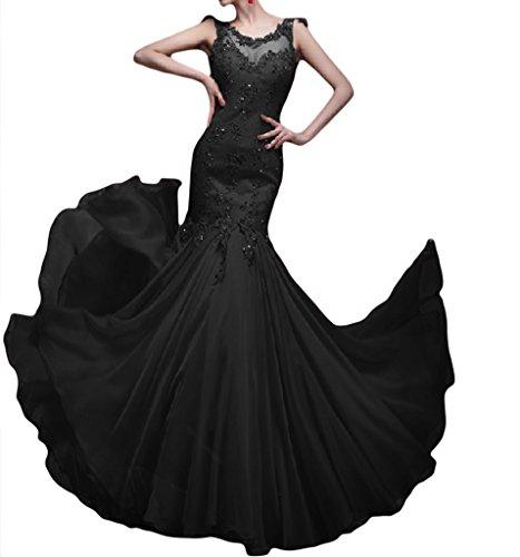 Royaldress Glamour Spitze Meerjungfrau Abendkleider Partykleider Promkleider Bodenlang Figurbetont Neuheit Schwarz