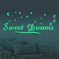 30cm luna y estrellas Adhesivos decorativo de pared luminosos, fluorescentes y brillantes en la oscuridad
