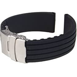 Gleader Black Silicone Rubber Watch Strap Band Deployment Buckle Waterproof 24mm