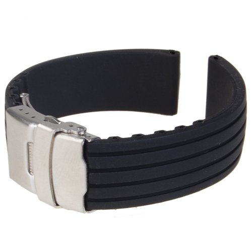 Generic - Silicone watch strap rubber band buckle deployment 22 mm waterproof, black color