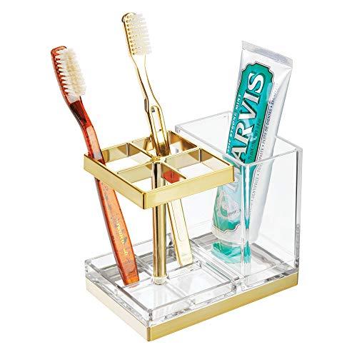 mDesign freistehender Zahnbürstenhalter - Zahnbürstenständer mit Platz für 4 Bürsten und Zahnpasta - Halter für Zahnpflege Produkte - durchsichtig und messingfarben