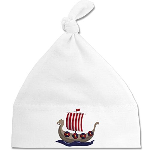 Shirtracer Bunt gemischt Baby - Wikinger-Schiff - Unisize - Weiß - BZ15 - Baby Mütze mit einfachem Knoten als Geschenkidee