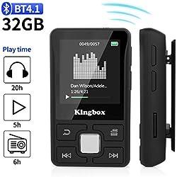 Lecteur MP3, Mini Lecteur MP3 Bluetooth Sport avec Kingbox 32Go, HiFi Portable sans Perte,128 Go de Radio FM, podomètre Intelligent, Photos, enregistrements, E-Book