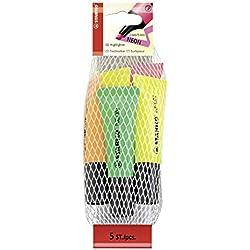 Marcador fluorescente STABILO NEON - Cuerpo semiblando - Malla con 5 colores