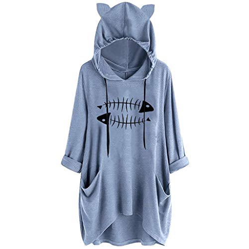 kolila Damen Kapuzenpullover Unregelmäßige Sweatshirts Herbst Winter Sale Beiläufige Cute Cat Ear Hooded Tops Pullover Oberteile -