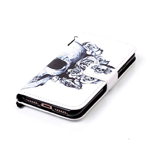 Ledowp Apple iPhone 7portafoglio in pelle, protezione integrale modello colorato design custodia in pelle custodia a portafoglio in pelle con slot per schede per iPhone 7 multicolore Rouge Baiser Skull #2