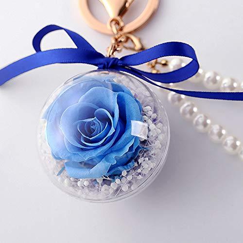 (WERTAZ Schlüsselanhänger Simulierte Perle Tasche Hängen Home Kunsthandwerk Auto Getrocknete Blume Haken Versiegelt Geschenk Frauen Dekorative Transparente Kugel(Blau))