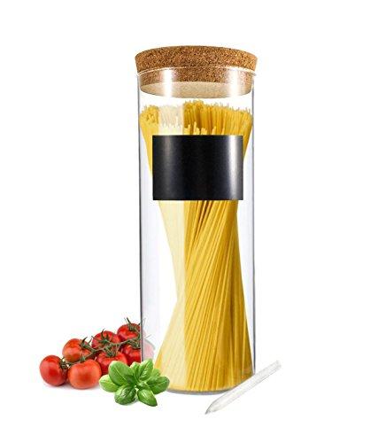 Vorratsdose 2L mit Deckel und Kreide aus Glas Glasbehälter Vorratsglas Dose 26cm