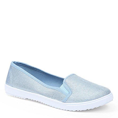 Ideal Shoes Sneakers slip-on glitzernd Dariane, beige - beige - Größe: 37