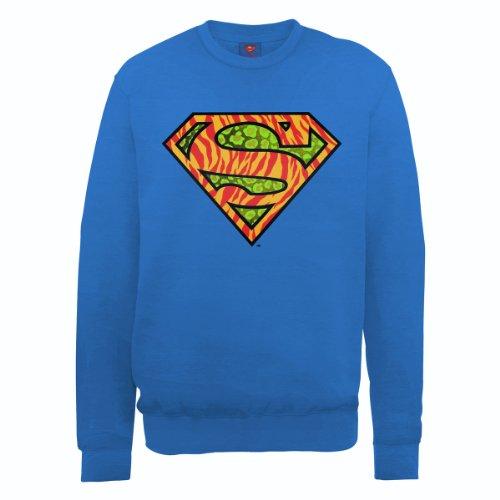 DC Universe Herren Sweatshirt Dc0001036 Dc Comics Official Superman Wild  Logo Blau - Königsblau