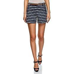 oodji Ultra Mujer Pantalón Corto de Algodón con Cinturón, Azul, ES 38 / S