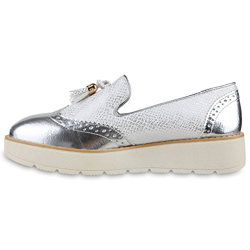 Damen Slipper Lack | Plateau Loafers | Metallic Schuhe Profilsohle | Loafer Flats Glitzer | Slippers Quasten Lochung Silber Quasten