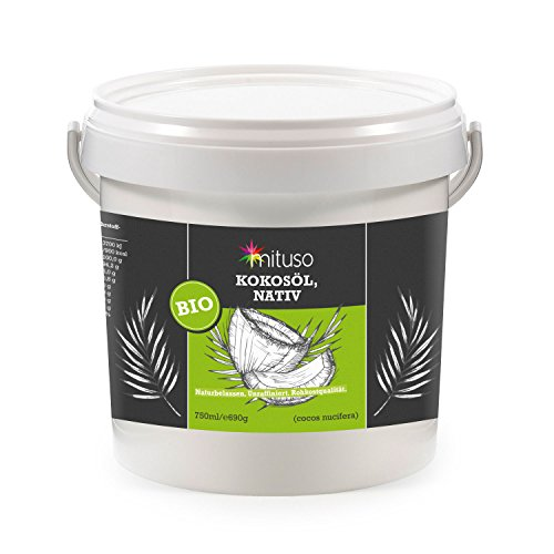 Mituso bio olio di cocco, in prima spremitura, adatto per cuocere, grigliare e cuocere e per pelle e cura dei capelli