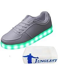 [Present:kleines Handtuch]Weiß EU 43, Weiß Damen Top Licht Herren LED JUNGLEST® Sneaker weise Leuchtschuhe Schuhe High USB Farbwechsel mit 7 Farbe