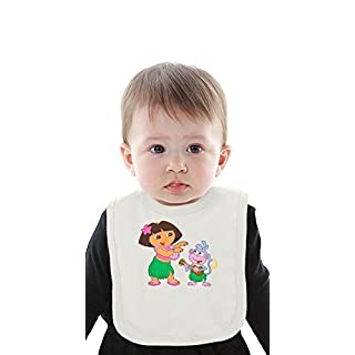 Dora la exploradora character Organic Baby Bib With Ties Medium