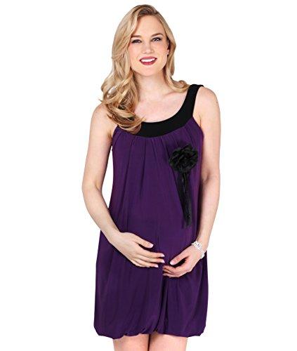 3565-PUR-12: Schwangerschaftskleid Longshirt Kurzes Kleid (Violett, (Party London Kostüm 2017)