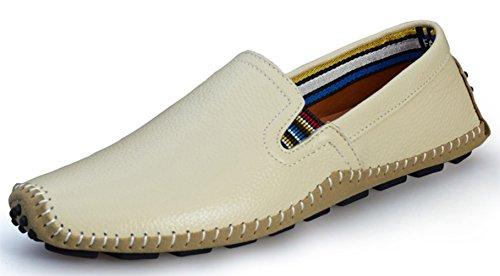 DADAWEN Herrenschuhe Slip-On Leder Loafers Bequem Walking Mokassins Fahren Freizeitschuhe Beige