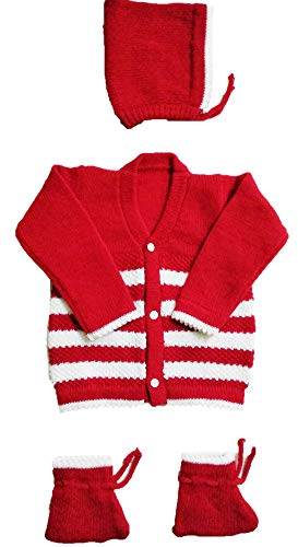 RK SWEATERS New Born Baby Sweaters 0-6 Months Combo Offer for Boys or Girls (Red_0-6 Months)|Also Suitable for (0-3)&(3-6) Months Baby Boy's & Girl's