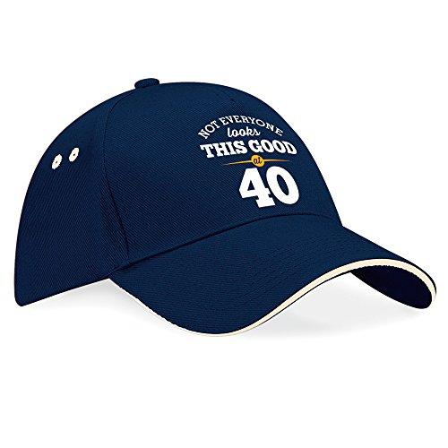 40º cumpleaños, 40º cumpleaños regalo de cumpleaños, regalos para hombres, 40º cumpleaños regalos para mujeres, 1976, Todavía aspecto de cumpleaños en 40, sombrero,–Gorra de béisbol, tela, Navy (Putty Trim), talla única