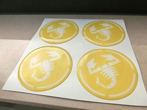 55mm Jaune tuning effet 3d 3m résine caches roues enjoliveurs Caps autocollants stickers pour jantes en alliage x 4pièces
