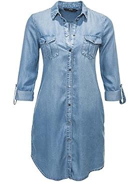 Vero Moda Damen Jeanskleid Hemdblusenkleid Denim