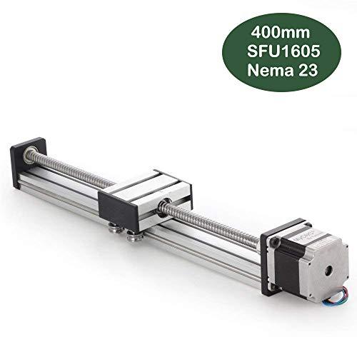 400mm lineare Schienenführung, DIY CNC-Fräserspindel für X Y Z-Achse Linear Stage Actuator Router Kugelumlaufspindeln SFU1605 mit Nema23 57 Schrittmotor (15.75 Zoll)