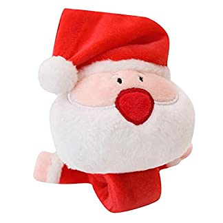 LuMon Bofetada Brazaletes Bofetada, Bofetada Muñeca Bandas, Lindo Navidad Peluche Bofetada Brazaletes Pulsera Diadema Navidad Juguete Papá Noel Ciervo Treefor Navidad Niños Adultos – 1