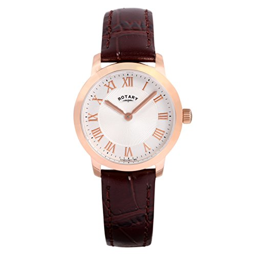 Rotary Women's Quartz Watch with White Dial Analogue Display and Brown Leather Strap LS00342/01
