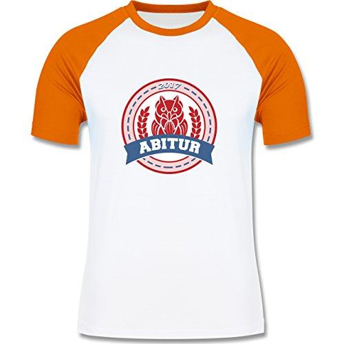 Abi & Abschluss - ABITUR 2017 Badge mit Eule - zweifarbiges Baseballshirt für Männer Weiß/Orange