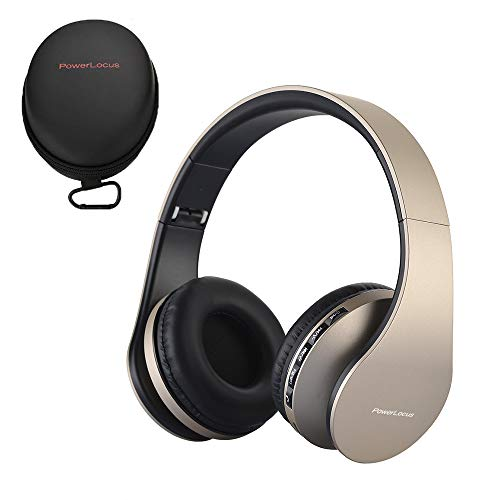 PowerLocus Bluetooth Kopfhörer, Over-Ear Wireless Bluetooth Kopfhörer Faltbar Kabellose Headset mit Mikrofon Freiscprechfunktion für iPhone, Android, PC (Gold) (Seller Geld-clip Best)
