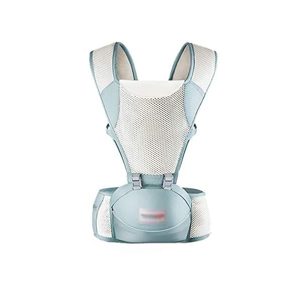 LITIAN Four Seasons Universal Baby Carrier Waist Stool Front Hug Multifunctional Baby Seat Summer Breathable light grey  ★ Double-layer high-elastic mesh design, cool and breathable, breathable strap. ★ Protect the bones from stress. Stressed on the shoulders, waist, abdomen, three points of balanced force, prevent Mommy spine strain, easy and labor-saving. ★ Enclosed soft skin-friendly bib, avoid rubbing the baby's chin and neck, reducing harmful bacteria. 1