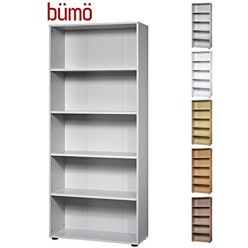 Bümö® Aktenregal aus Holz | Büroregal für Aktenordner | Regal für Ordner | Bücherregal inkl. Einlegeböden | in 5 Farben verfügbar (Grau, H 188cm = 5 Ordnerhöhen)