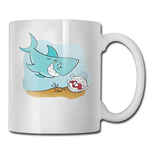 Cartoon Shark And Clam Underwater Personalized Tea Mugs - Add Pictures, Logo, Or Text To Our Custom Mugs -