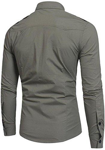 Sportides Herren Casual Long Sleeve Plaid Button Down Check Shirts Tops JZA102 JZA249_ArmyGreen