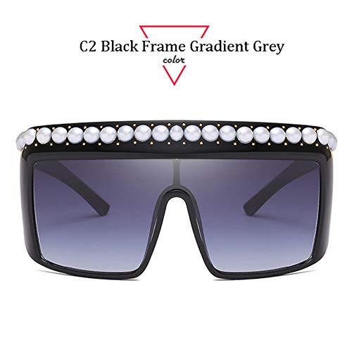 Kjwsbb Aloz Micc Perlen Sonnenbrille Frauen Übergroße Niet Rahmen Weibliche Einteilige Schutzbrille Design Frauen Winddicht Sonnenbrille Q422