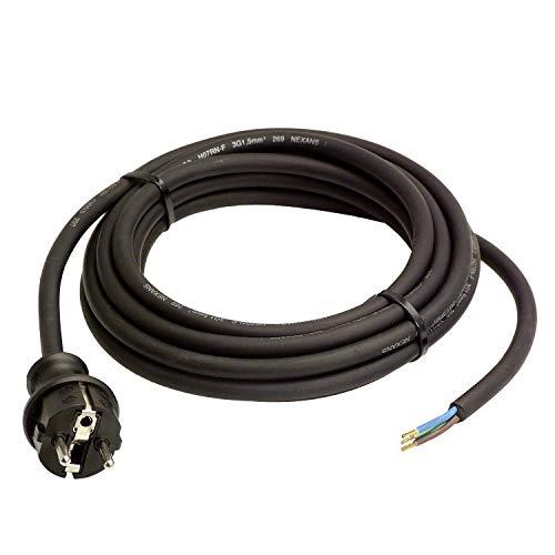 as - Schwabe Gummi-Anschlussleitung - 4,5 m Leitung mit spritzwassergeschütztem Schutzkontaktstecker -- Baustellen & Gewerbe - IP44 - Schwarz I 60379