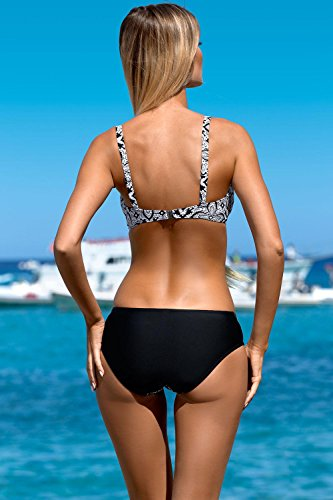 Lorin L3021/7 Bikini Set Dame Bademode Soft Cups Regulierbar Gemustert Normaler Bund EU Schwarz-Weiß
