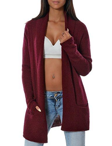 Damen Casual Cardigan Strickweste Pullover (weitere Farben) 14143, Farbe:Bordeaux;Größe:One (Mini Kostümen Pferde In)