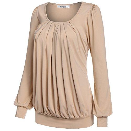 Meaneor Damen Langarmshirt Rundhals Bluse Langarm Tunika Stretch Shirt Falten Shirt Kamel
