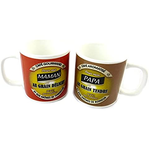 Set di 2 tazze di caffè 'Maman Papa'.