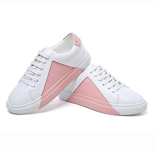 Damen Sneaker Rundzehen Mosaik-Farbe Low-Top Flach Sportlich Klassisch Bequem Schick Schnürschuhe Pink