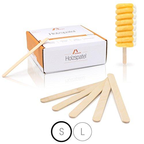 Amazy Holzspatel (200 Stück) – Naturbelassene Holzstäbchen ideal für EIS am Stiel, Waxing und Basteln (Klein   114 x 10 mm)