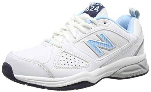 New Balance WX624WB4-624, Women Fitness Shoes, White (White/Blue 110), 6.5 UK (40 EU)