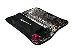 Designs in July Hair Straightener Heat-Resistant Travel Case. Portable Flat Iron Protector In Stylish Cute Colors. Curling Iron Storage. Black